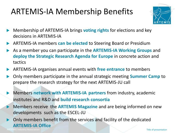 Membership of ARTEMIS-IA brings