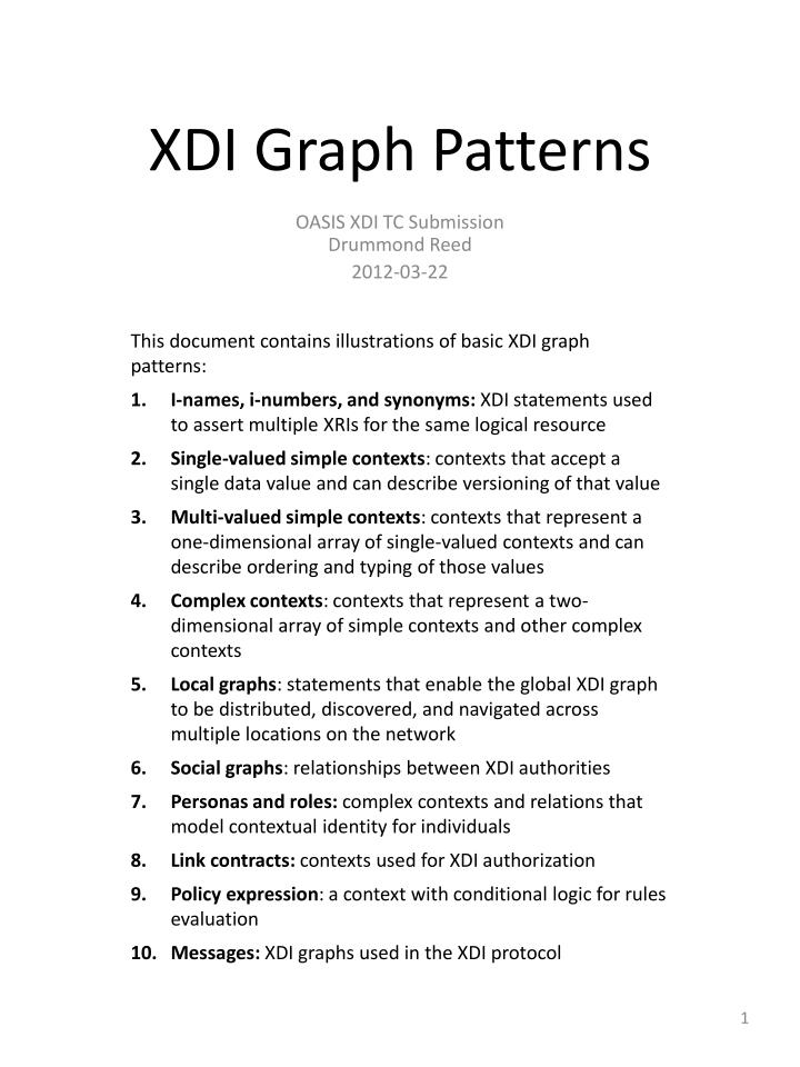 This document contains illustrations of basic XDI graph patterns: