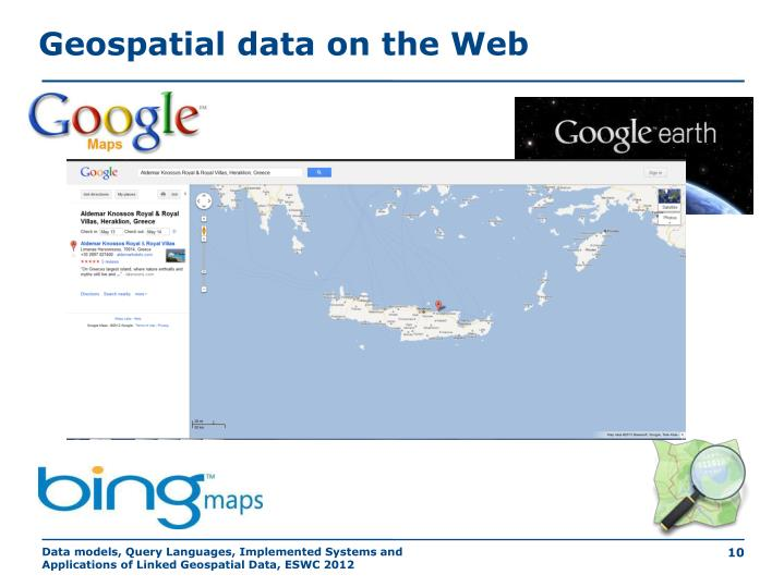 Geospatial data on the Web