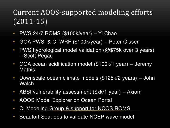 Current AOOS-supported modeling efforts (2011-15)