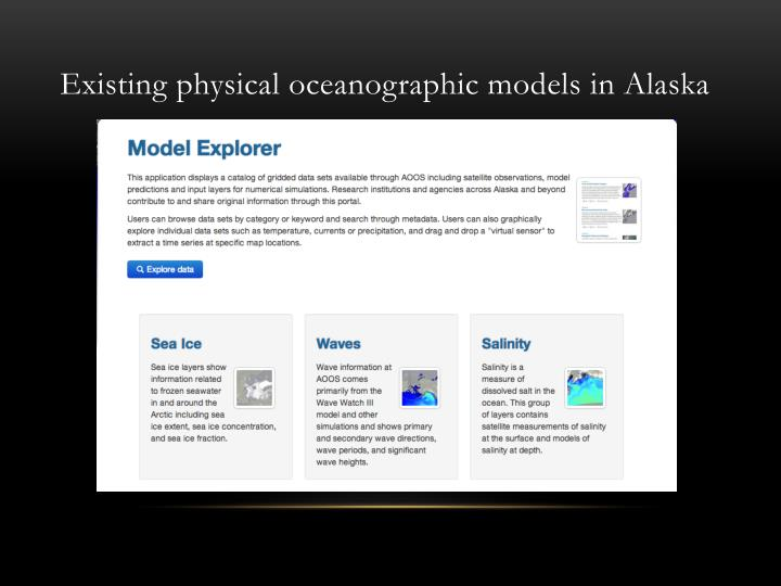 Existing physical oceanographic models in Alaska