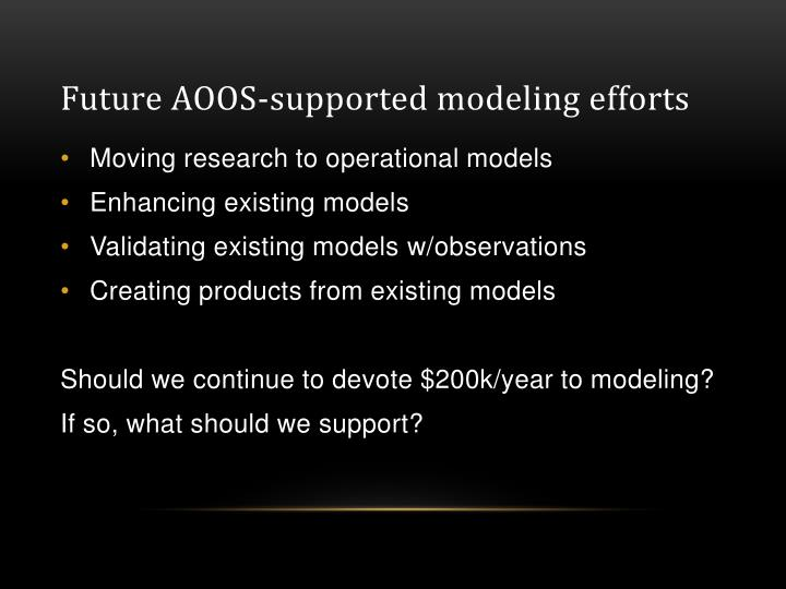 Future AOOS-supported modeling efforts