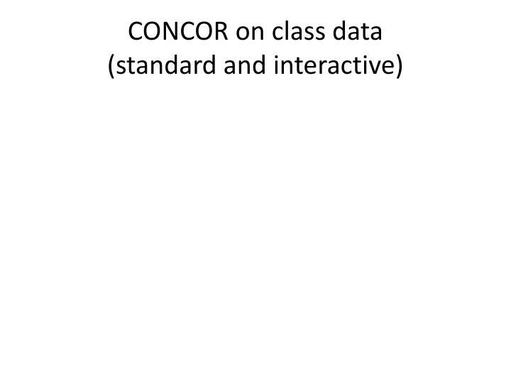 CONCOR on class data
