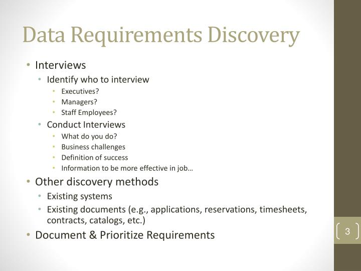 Data requirements discovery