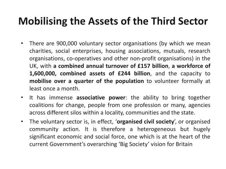 Mobilising the Assets of the Third Sector