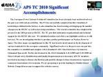 aps tc 2010 significant accomplishments