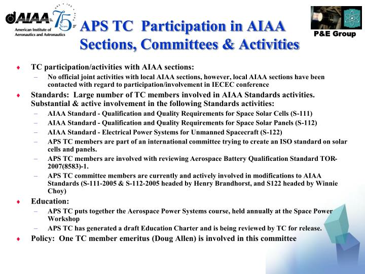APS TC  Participation in AIAA Sections, Committees & Activities