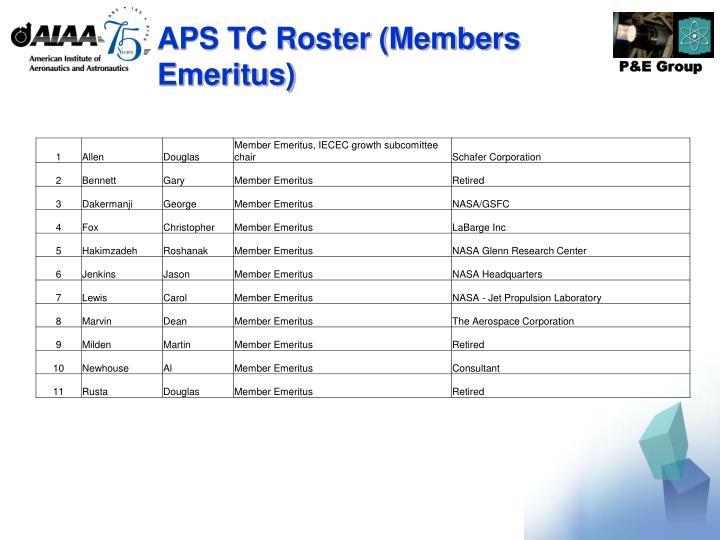 APS TC Roster (Members Emeritus)