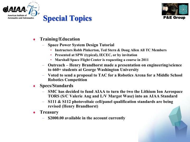Special Topics