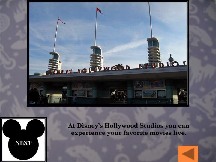 At Disney's Hollywood Studios you can experience your favorite movies live.
