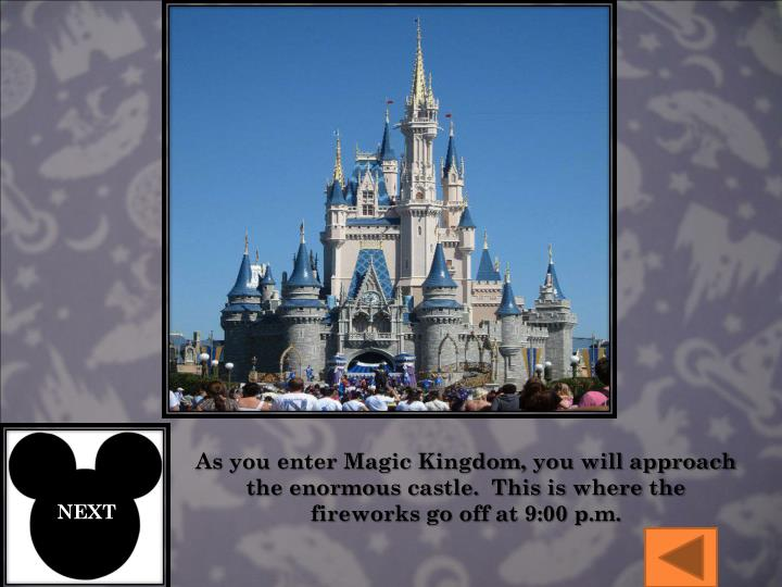 As you enter Magic Kingdom, you will approach the enormous castle.  This is where the fireworks go off at 9:00 p.m.
