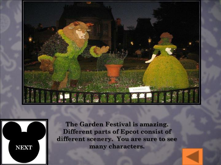 The Garden Festival is amazing. Different parts of Epcot consist of different scenery.  You are sure to see many characters.