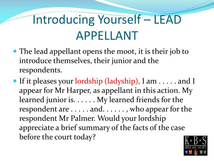 Introducing Yourself – LEAD APPELLANT