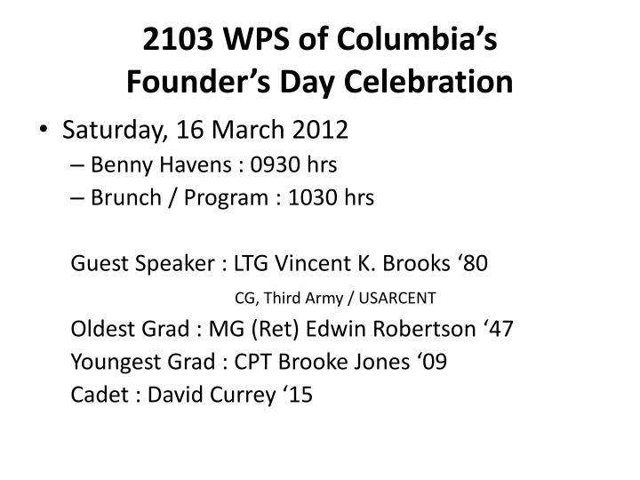 2103 WPS of Columbia's