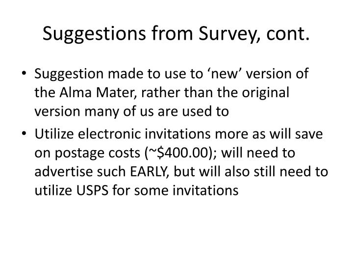 Suggestions from Survey, cont.