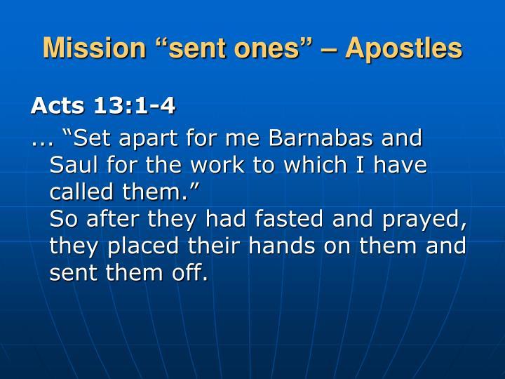 "Mission ""sent ones"" – Apostles"