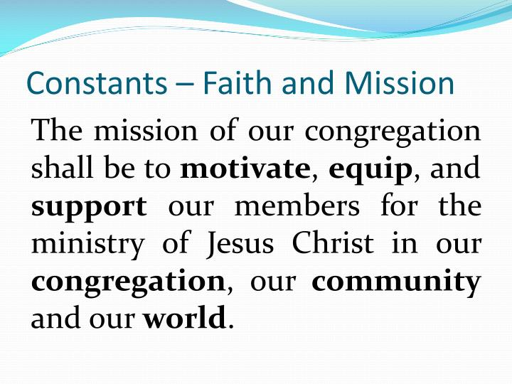 Constants – Faith and Mission