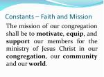 constants faith and mission