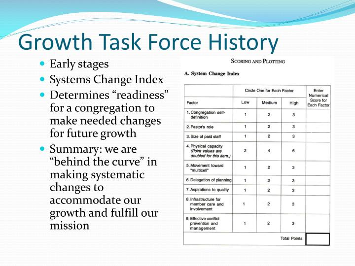 Growth Task Force History