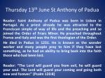 thursday 13 th june st anthony of padua