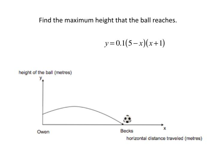 Find the maximum height that the ball reaches.
