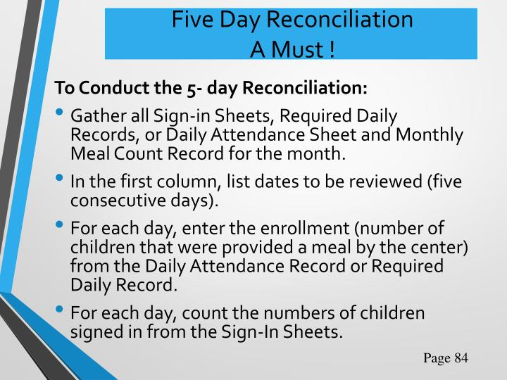 Five Day Reconciliation