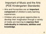 important of music and the arts pde kindergarten standards