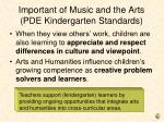 important of music and the arts pde kindergarten standards1