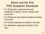 music and the arts pde academic standards