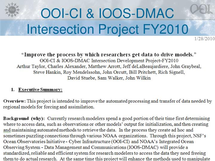 ooi ci ioos dmac intersection project fy2010