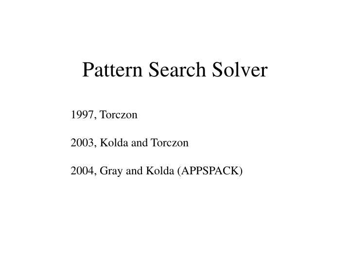 Pattern Search Solver