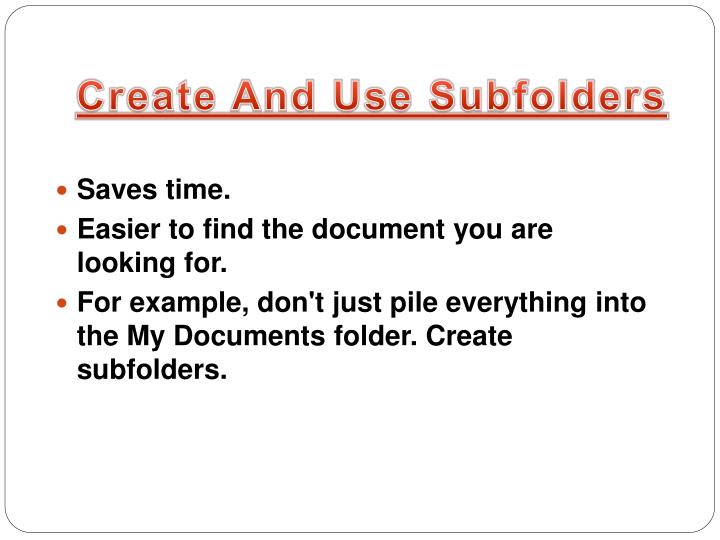Create And Use Subfolders
