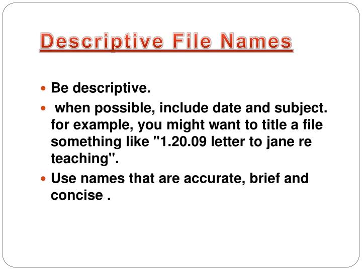 Descriptive file names