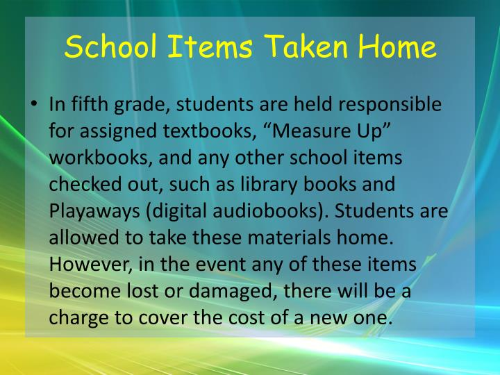 School Items Taken Home