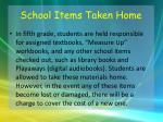 school items taken home
