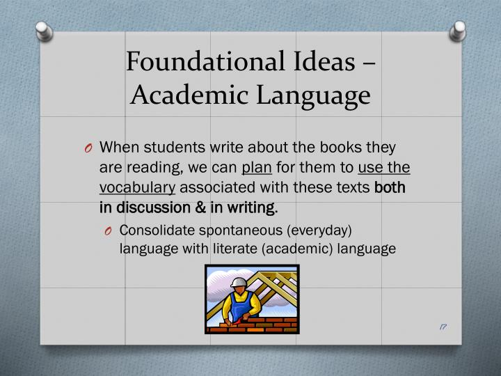 Foundational Ideas – Academic Language