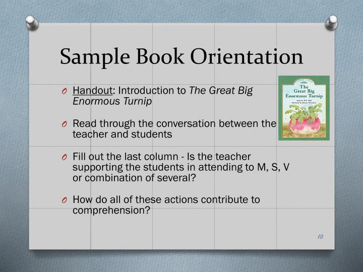 Sample Book Orientation