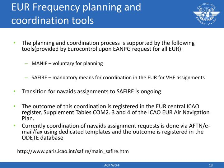 EUR Frequency planning and coordination tools