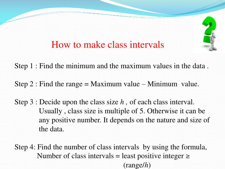 How to make class intervals