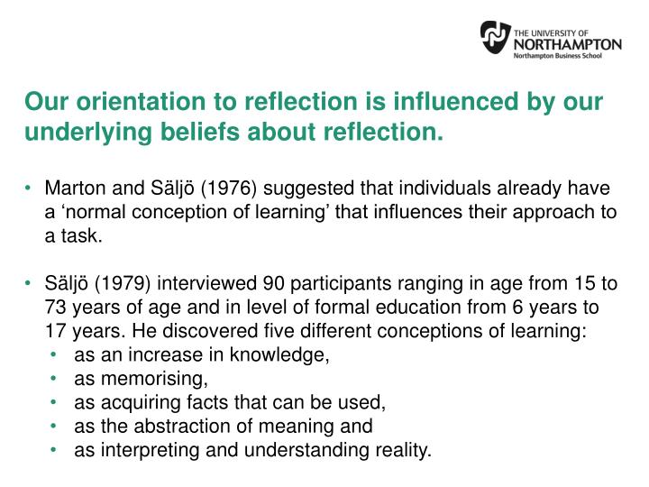 Our orientation to reflection is influenced by our underlying beliefs about reflection.
