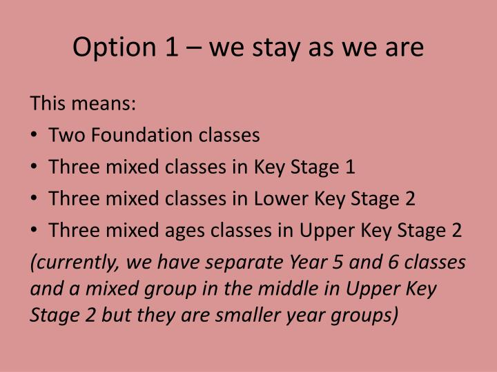 Option 1 – we stay as we are
