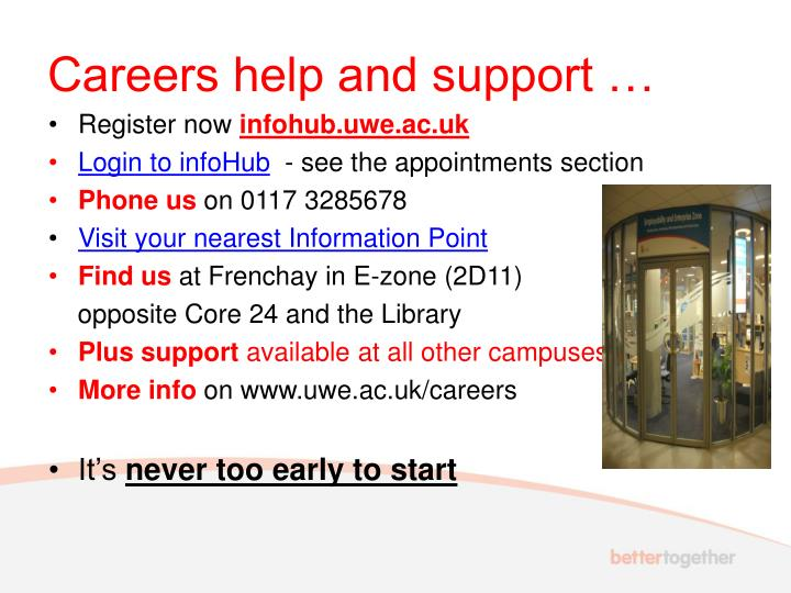 Careers help and support …