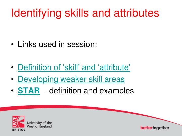 identifying skills and attributes