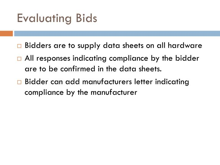 Evaluating Bids