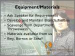 equipment materials