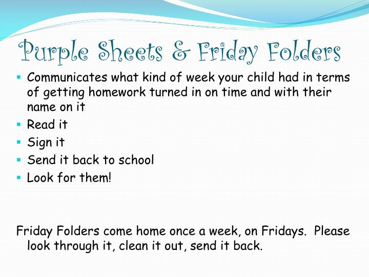 Purple Sheets & Friday Folders
