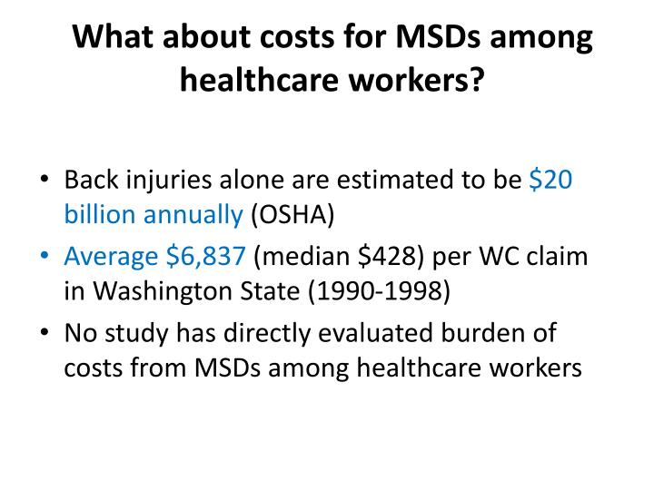What about costs for MSDs among healthcare workers?