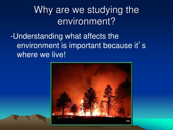 Why are we studying the environment?