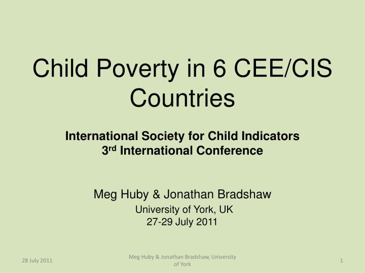 Child Poverty in 6 CEE/CIS Countries