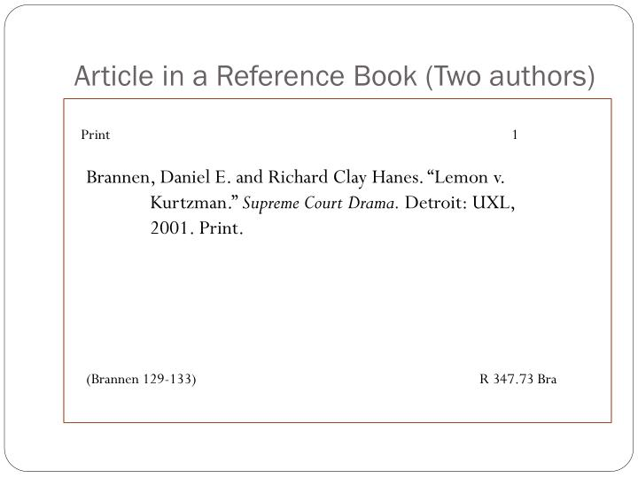 Article in a Reference Book (Two authors)